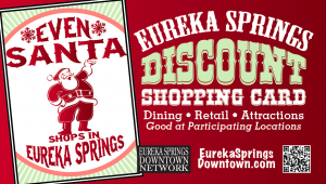 christmas in eureka springs, ar shopping discount card