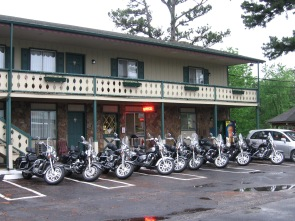 Motorcycles parked in front of the Edelweiss Inn.